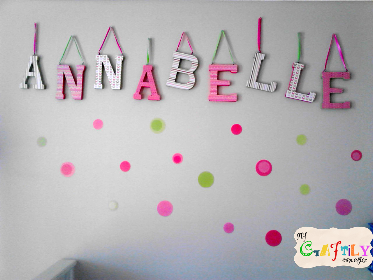 Wooden letters baby name for nursery my craftily ever after for Baby name letters decoration