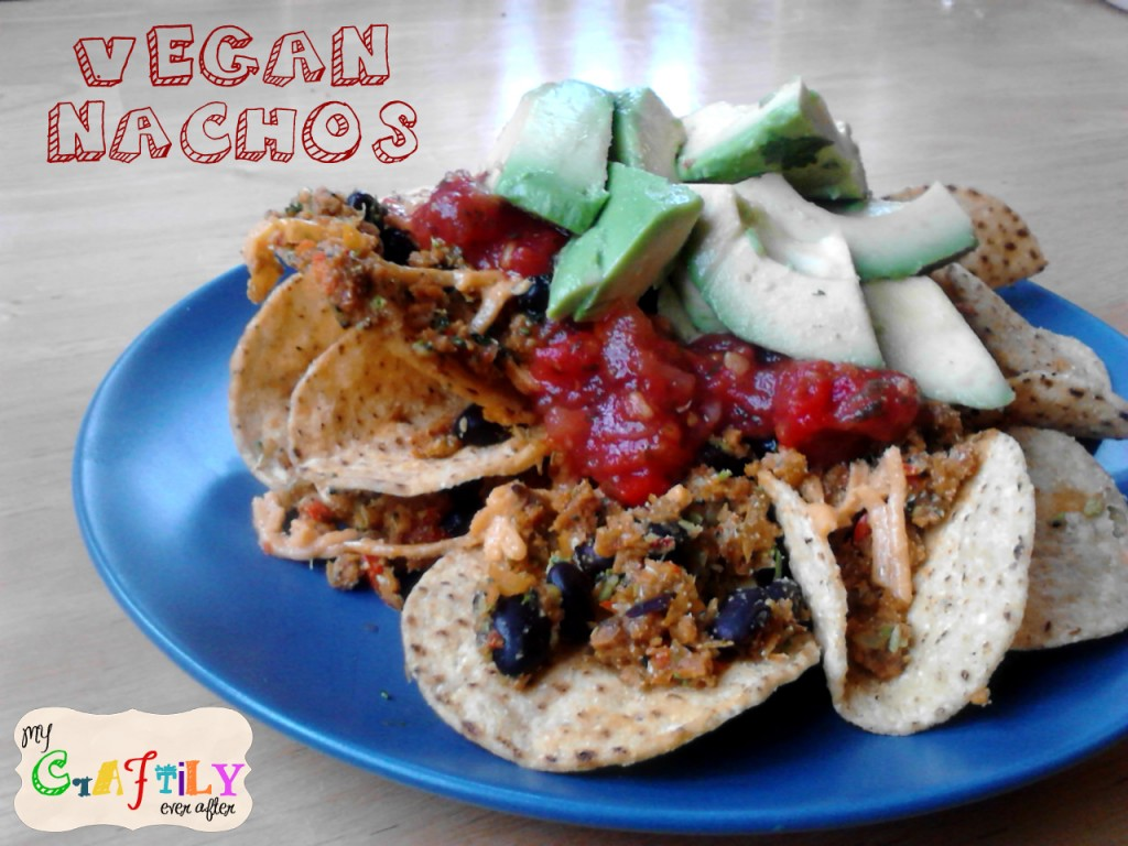 vegan nachos with salsa and avocado