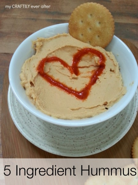 5 ingredient hummus recipe found at My Craftily Ever After