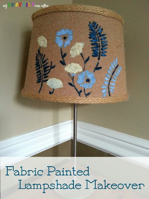 Fabric Painted Lampshade Makeover My Craftily Ever After