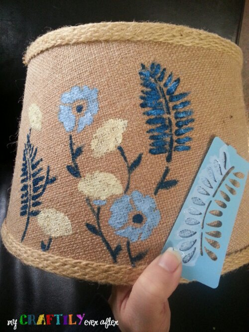 Fabric Painted Lampshade Makeover