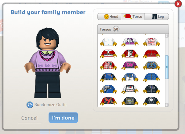LEGO shirt selection