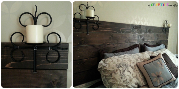 candle holders mounted on planked headboard