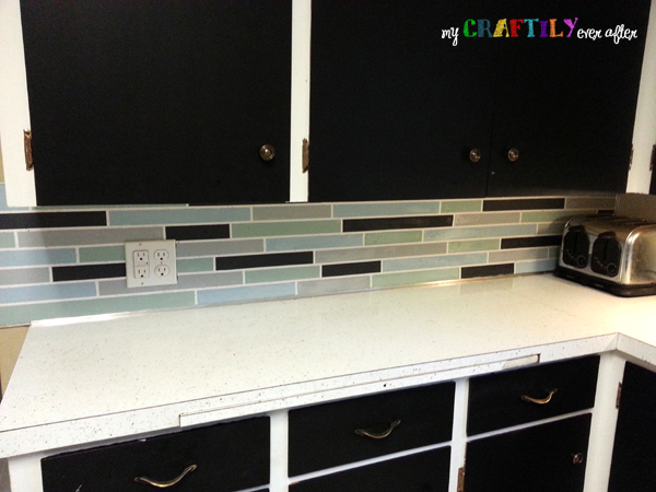painted backsplash progress