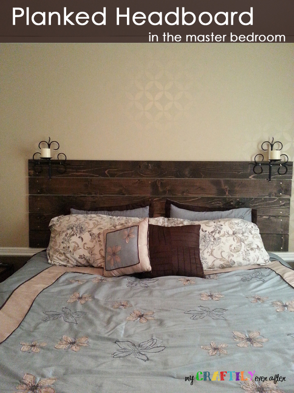 planked headboard in the master bedroom