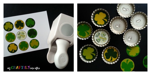 how to make st patricks day bottle cap magnets