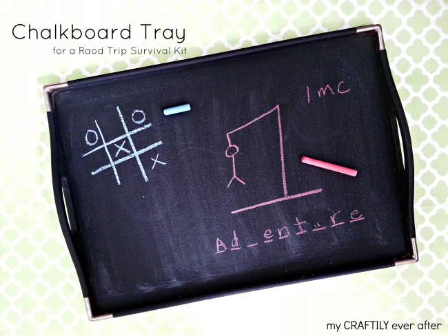 chalkboard tray for a road trip survival kit