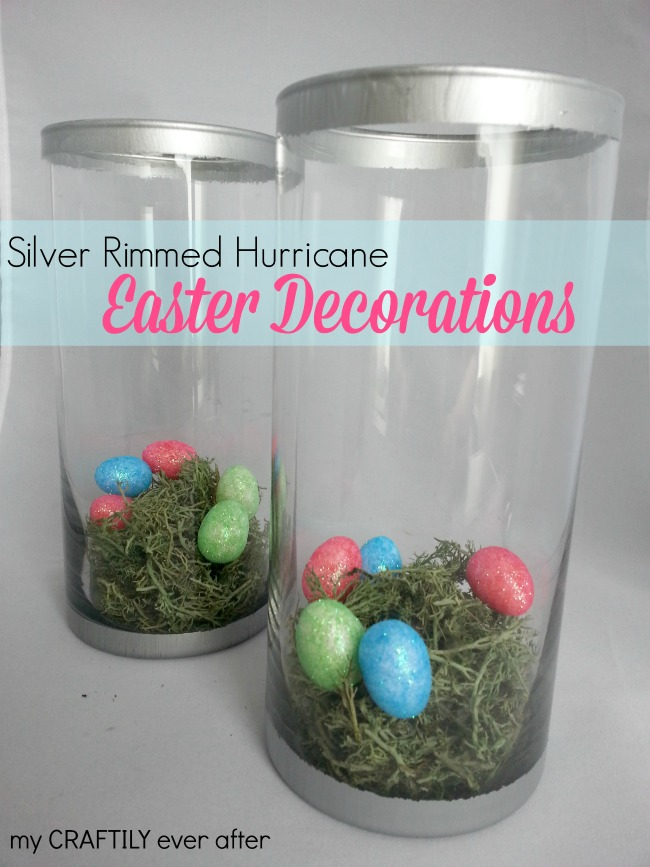easter decor - silver rimmed pottery barn knock off hurricanes