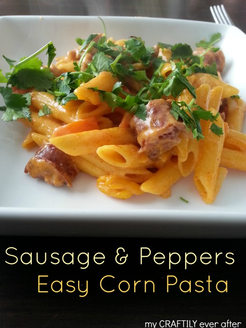 sausage and peppers easy corn pasta