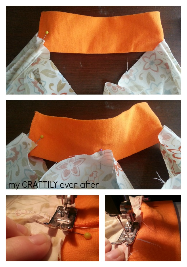 steps for sewing elastic to a pillowcase skirt