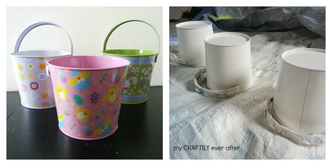 turning dollar store pails into personalized easter buckets