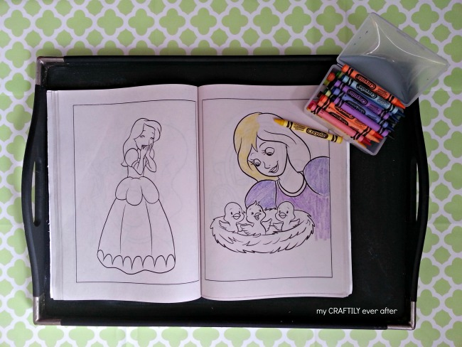 use a tray for coloring in the car