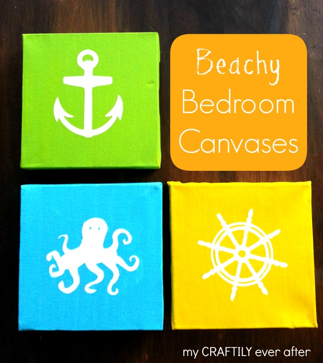 Create these easy beachy canvases, perfect for a nursery, kids room or bathroom!  Learn more at My Craftily Ever After