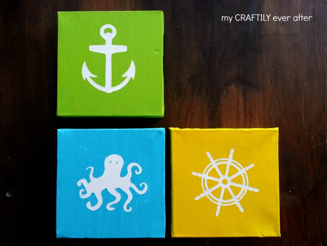 fun beachy canvases for the bedroom