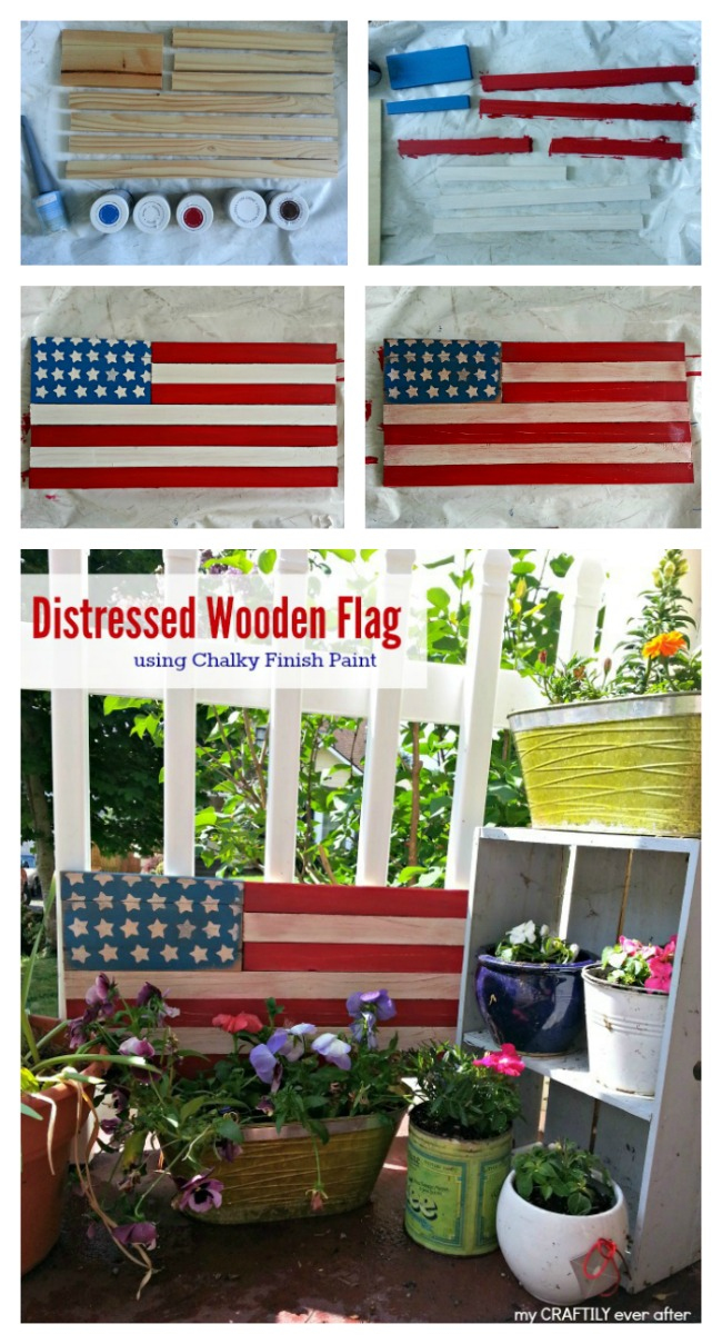 how to create a distressed american flag using scrap wood and chalky finish paint