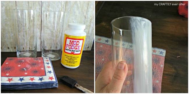 creating a patriotic candle holder