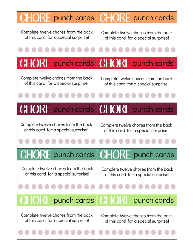 Printable Chore Cards for Kids!