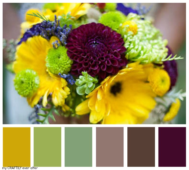Let's eat Grandpa Wedding Bouquet Color Palette