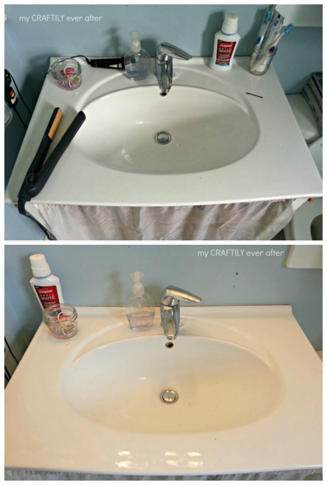 bathroom counter before and after