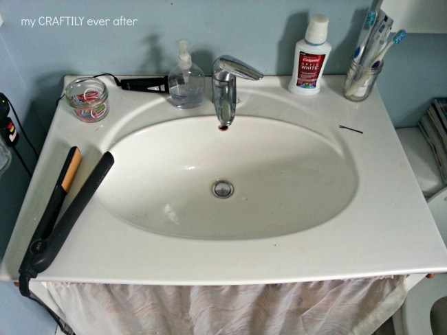 bathroom counter before picture