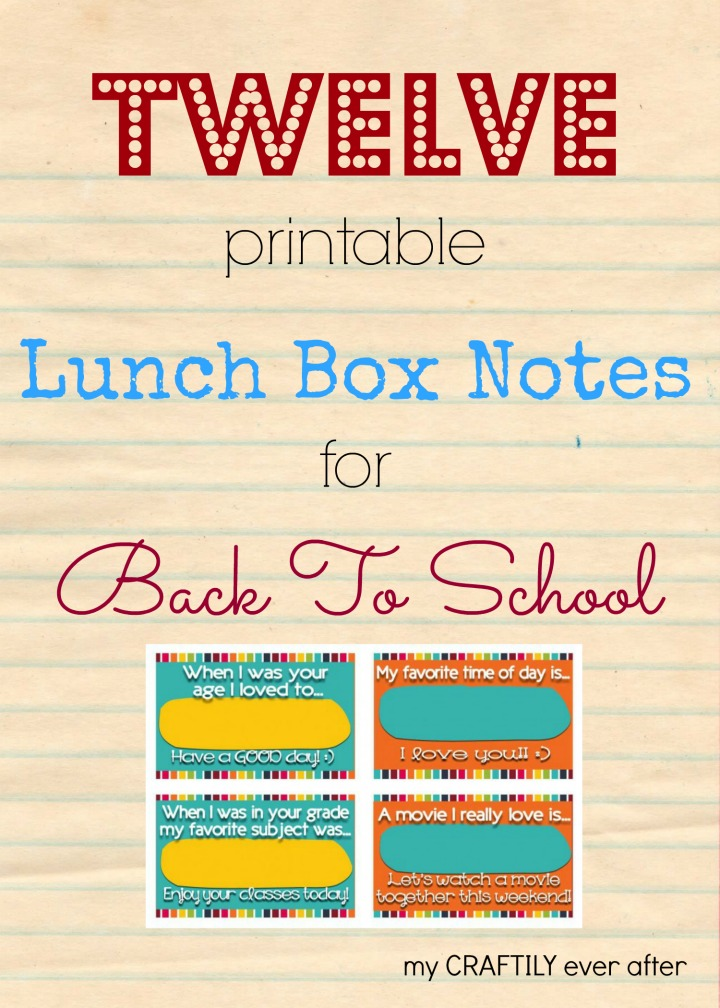 12 printable lunch box notes