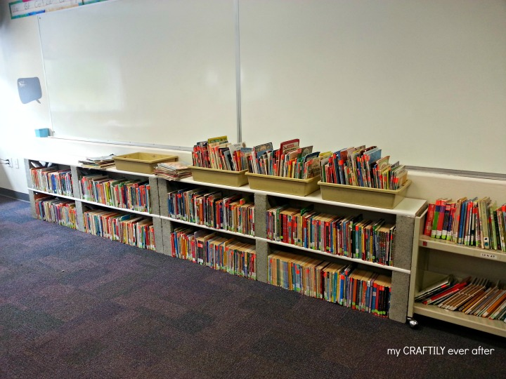 classroom library made from boards and bricks