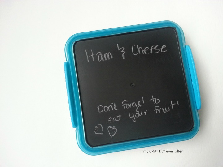sandwich box notes with chalkboard paint