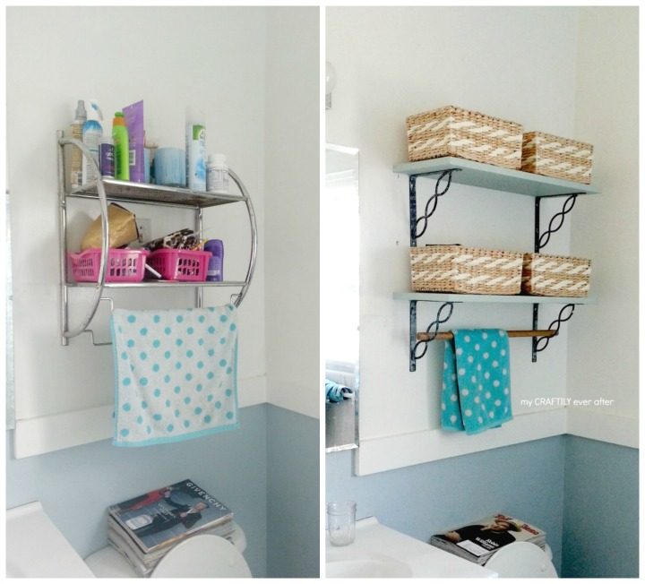 bathroom shelves before and after