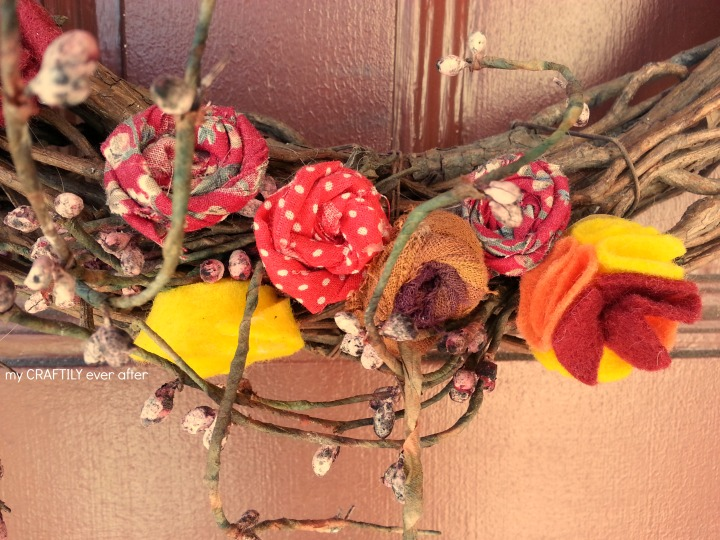 fabric flowers for a fall wreath