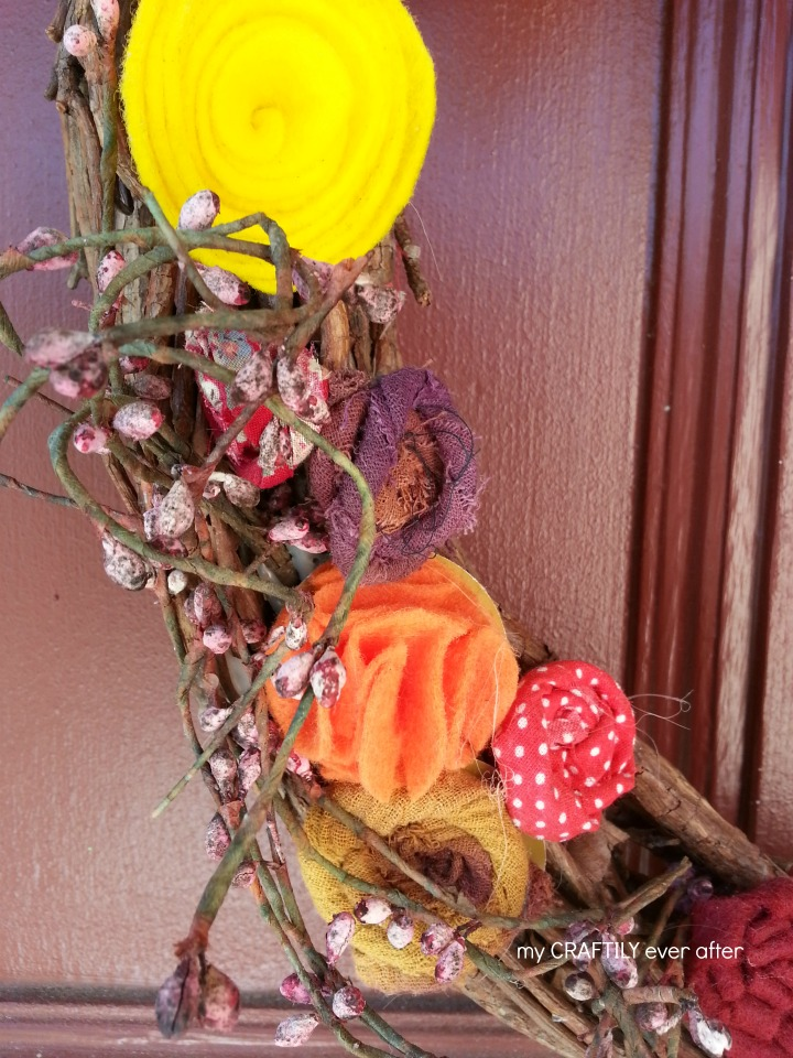 fabric flowers on a fall wreath