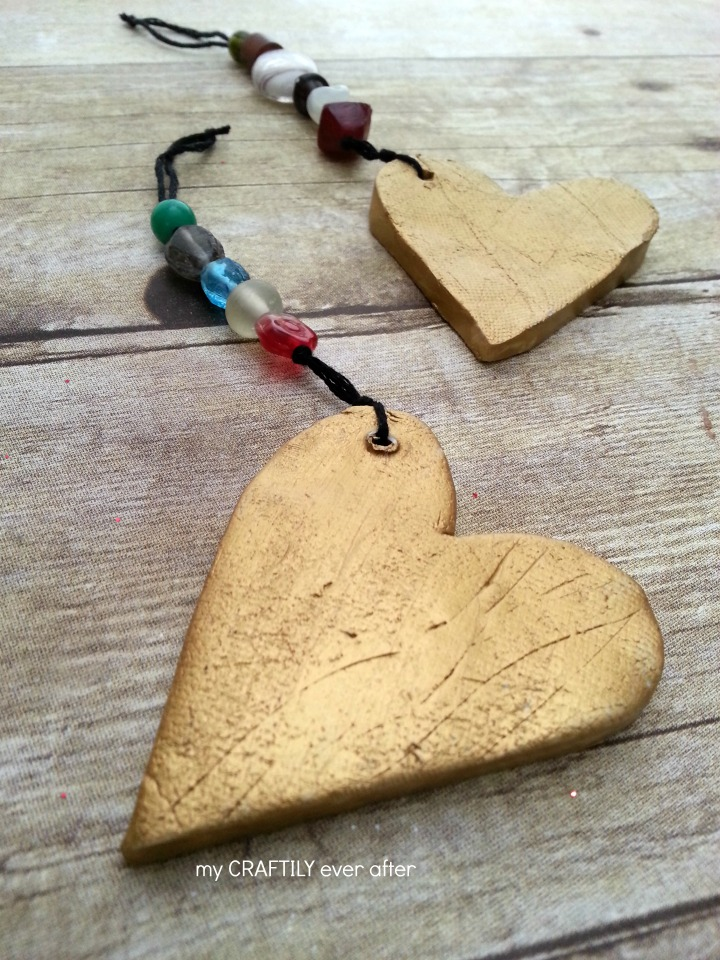 clay heart ornaments
