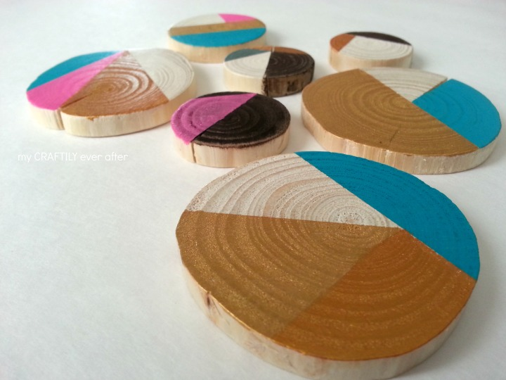 Geometric Wood Slice Ornaments