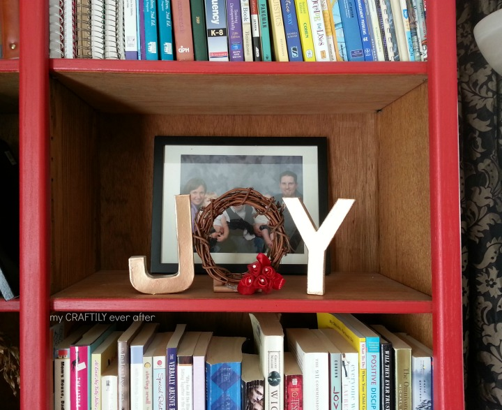 paper mache letters for a holiday shelf display