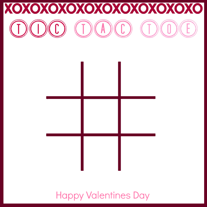 tic tac toe printable valentine with m&ms