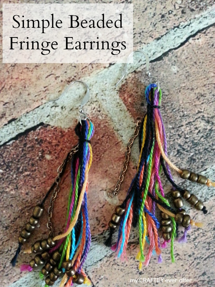 simple beaded fringe earrings - only 15 minutes to make!