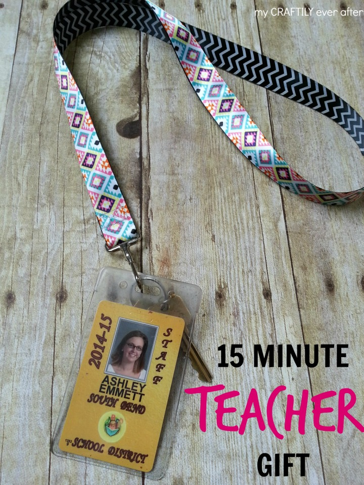 15 minute teacher gift - double sided ribbon lanyard