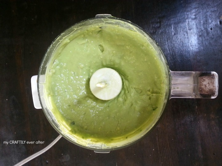 avocado crema dip ingredients blended in a mini food processor