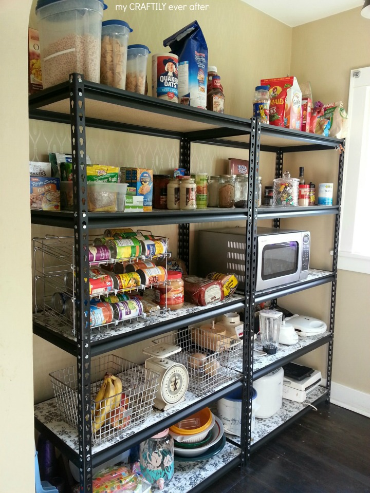 walk in pantry makeover with industrial shelves