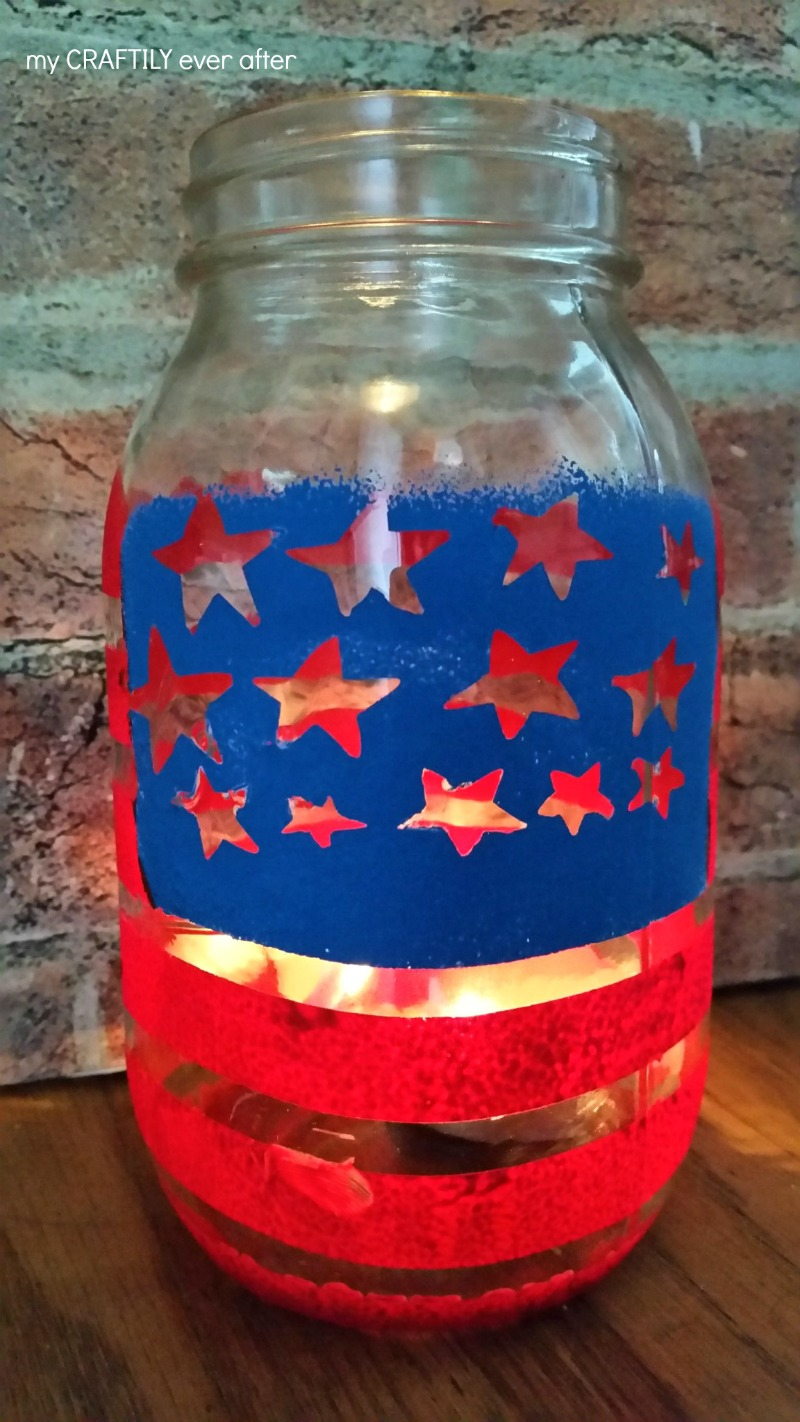 patriotic painted candle holder from a mason jar
