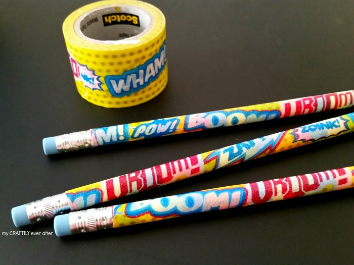 super hero washi tape pencils