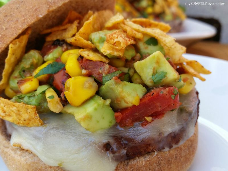 black bean burgers with southwest topping