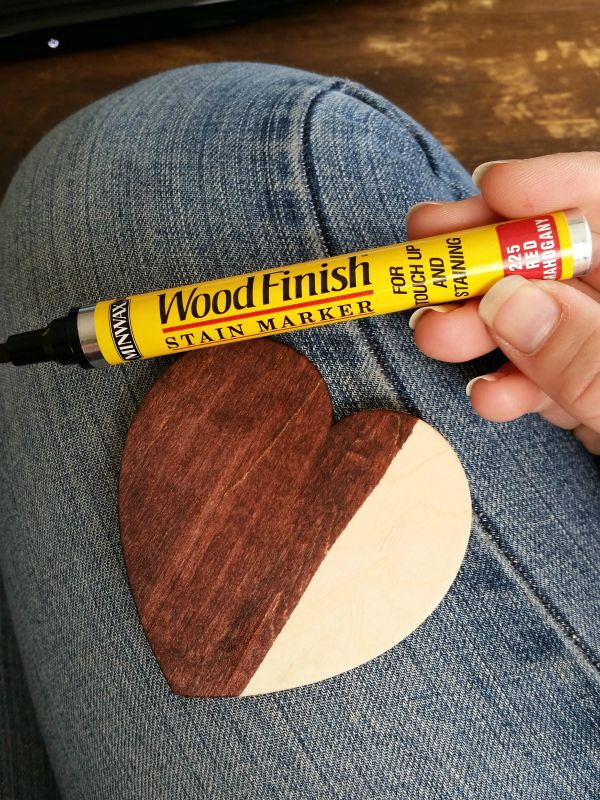 staining wood hearts