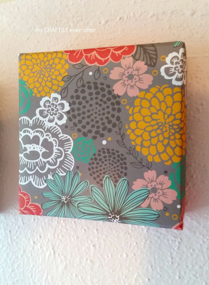 floral paper wrapped canvas