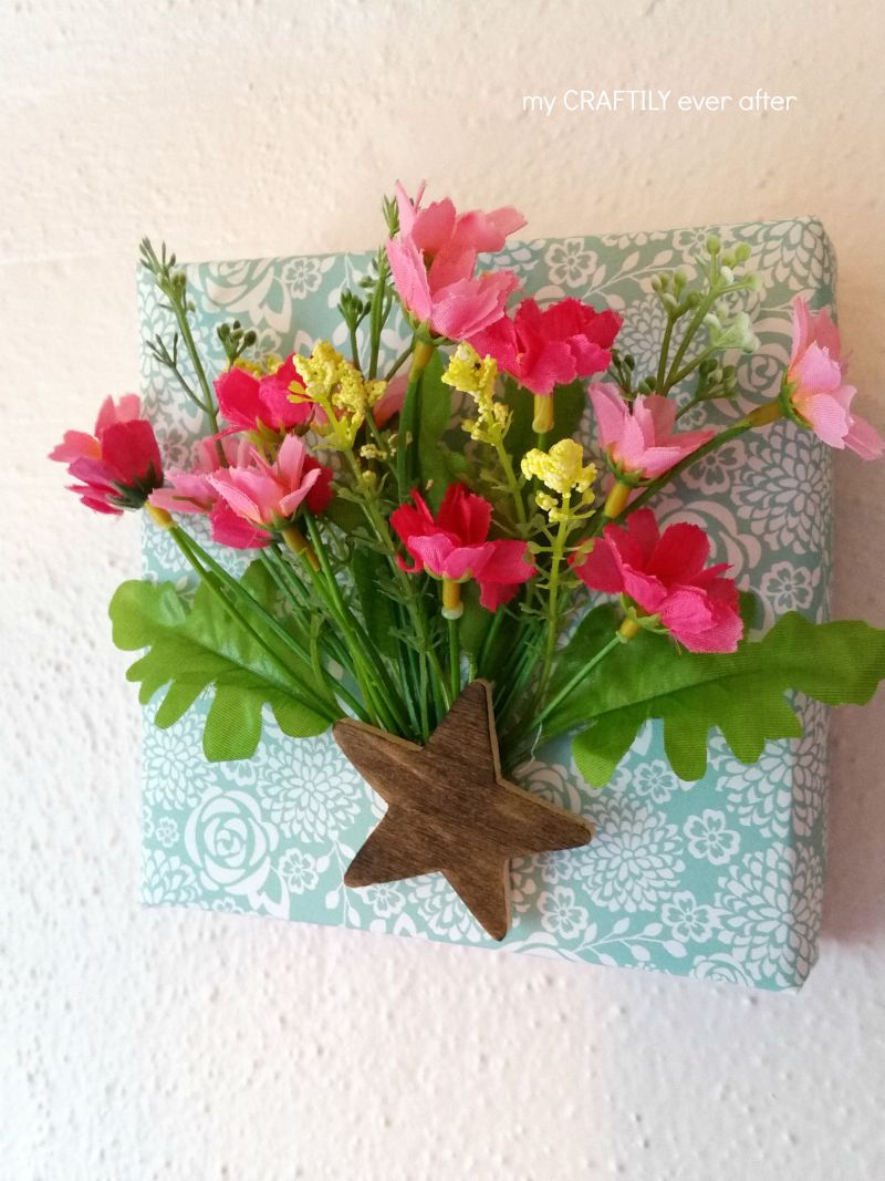 paper wrapped canvas with flowers
