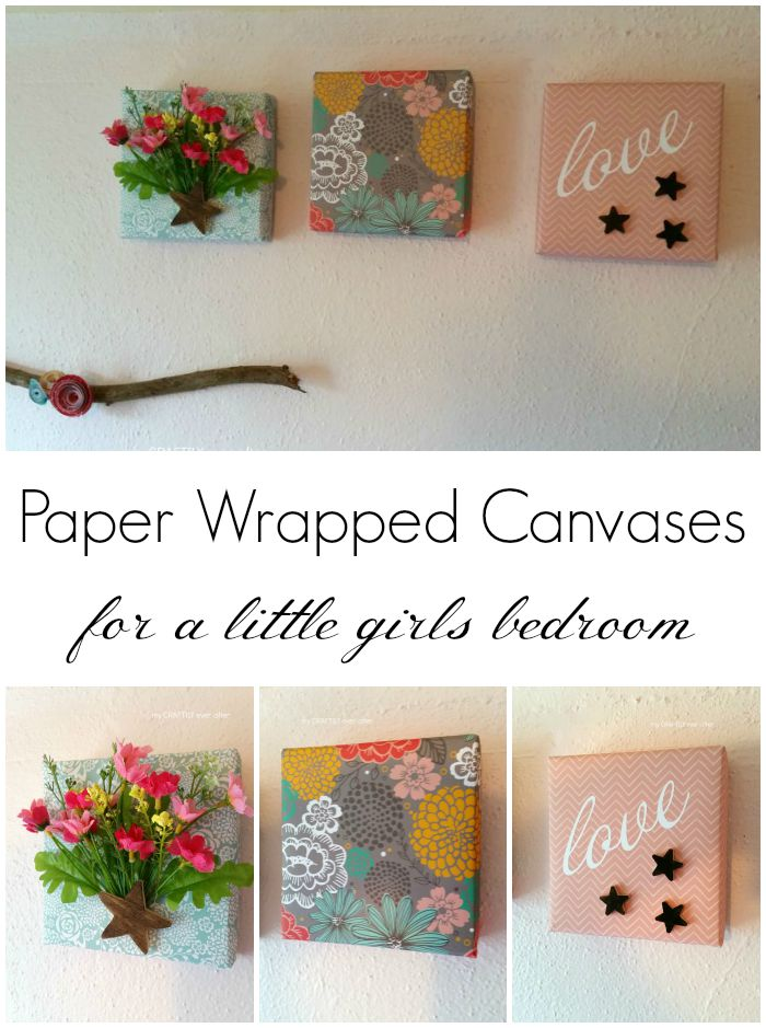 paper wrapped canvases for a little girls bedroom