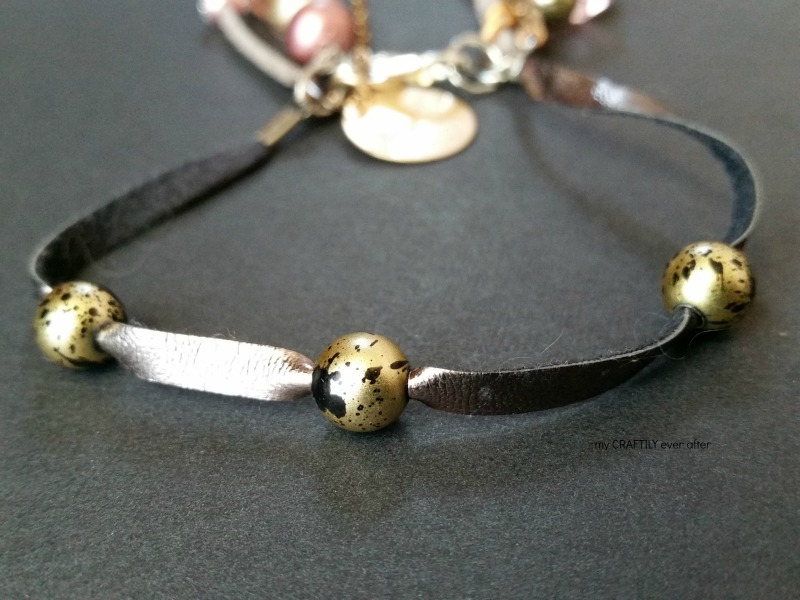 shiny leather and beads