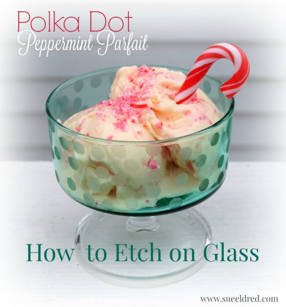 Etched Polka Dot Peppermint Parfait Glass