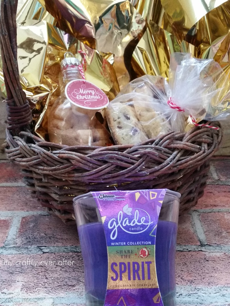 gift basket with glade candle