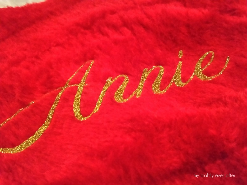 heat transfer vinyl on a christmas stocking