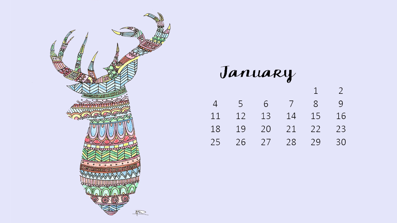 January Printable Calendar and Wallpapers - My Craftily Ever After